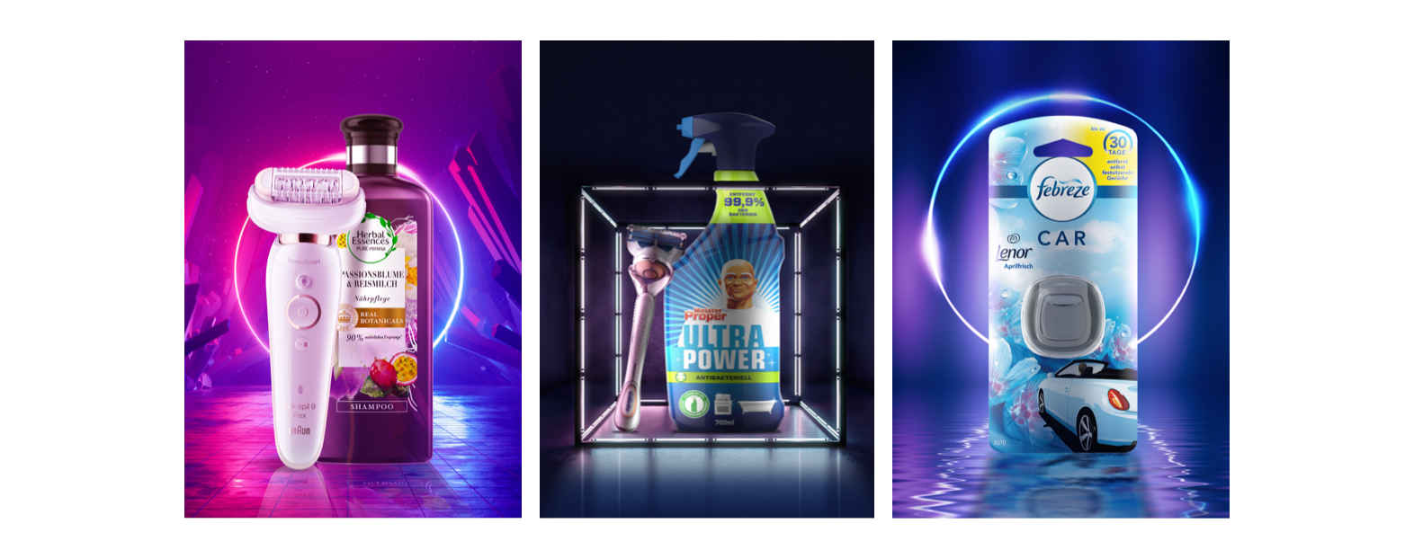 "Three promotional images for products of ""for me"" brands: Herbal Essences, Braun, Meister Proper, Gillette and Febreze"